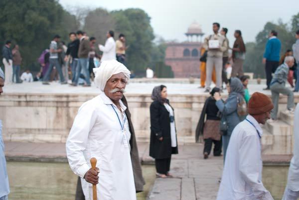scene at the Taj Mahal