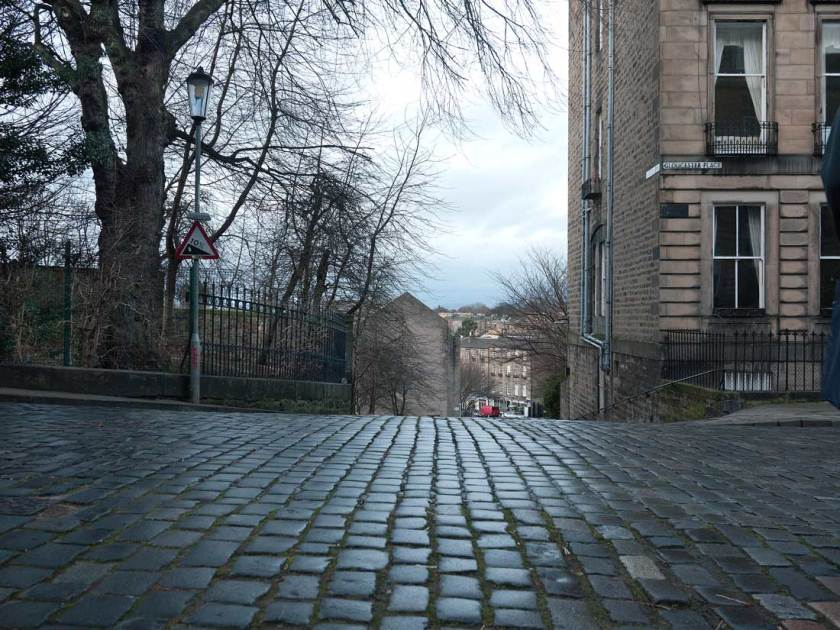 Looking from Gloucester Lane towards Stockbridge in Edinburgh