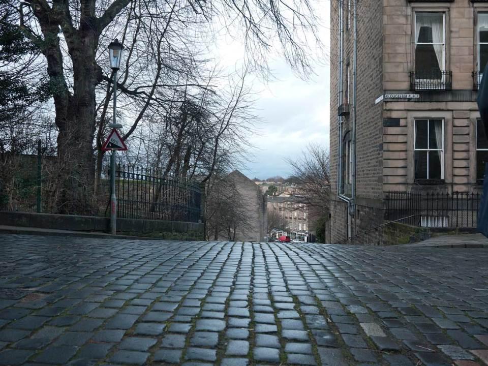 Looking from Gloucester Lane towards Stockbridge in Edinburgh