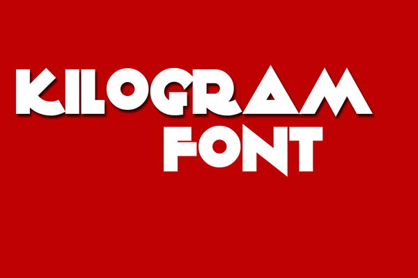 kilogram font spelling out it's name - white on red