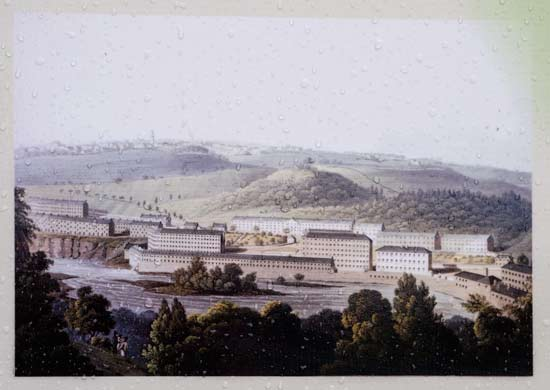 Print of John Clark Engraving Of New Lanark in 1825