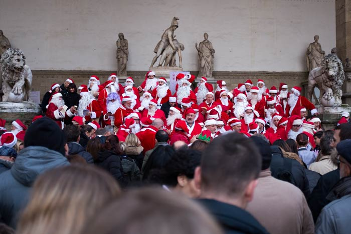 Santa Clauses in the Sculpture Area by the Palazzo Vecchio