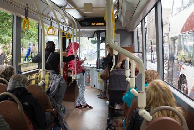 traveling along princes street on the bus in edinburgh