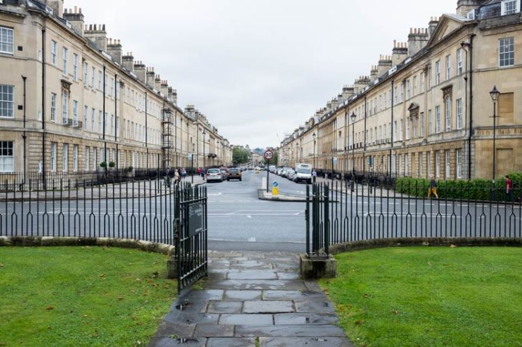 Looking out onto Sydney Place from the front of the Holburne Museum in Bath