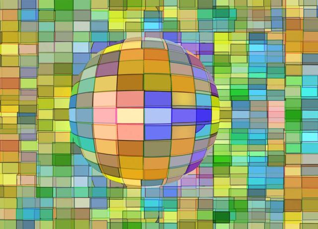 multi-coloured sphere against a multi-coloured background