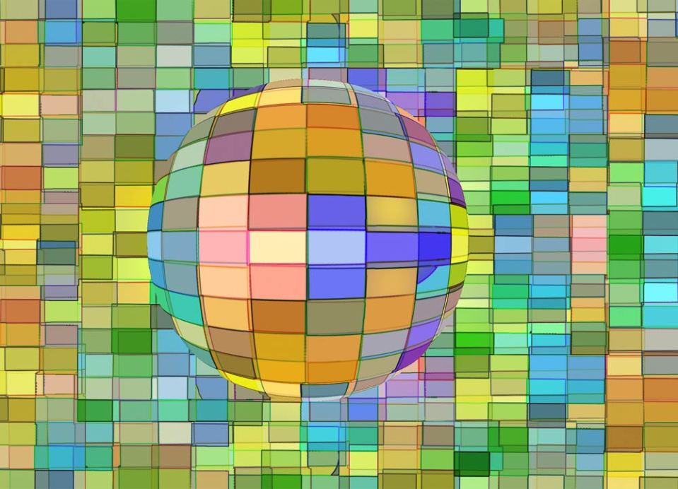 multi-coloured sphere against a multi-coloured background
