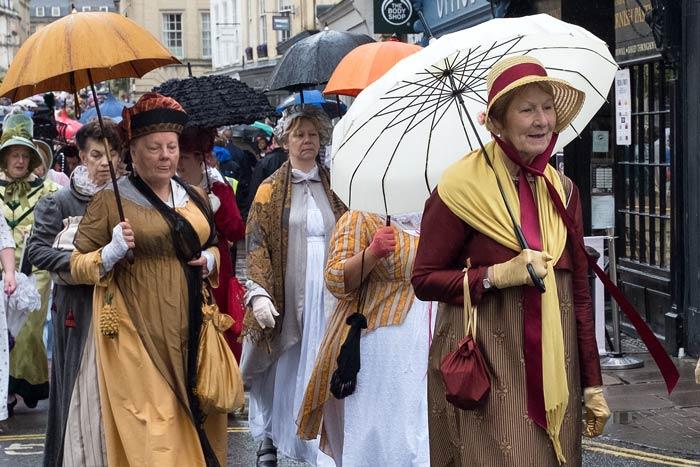 People in Regency costume in Bath