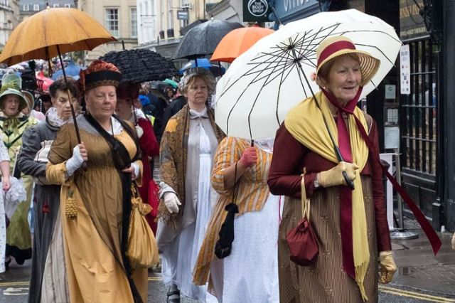 People in Regency costume in Bath