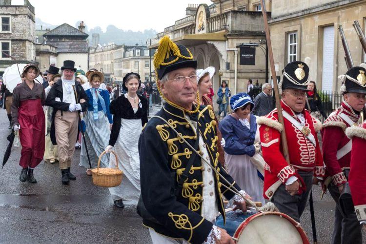 drummer in procession of regency costume in Bath