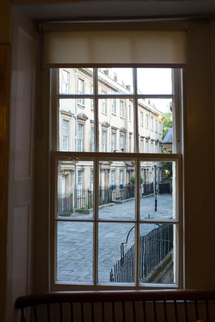 A view out of the window of Sally Lunn's cafe in Bath looking onto a Georgian street