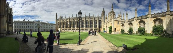 panorama of king's college chapel and surrounding buildings in king's college Cambridge