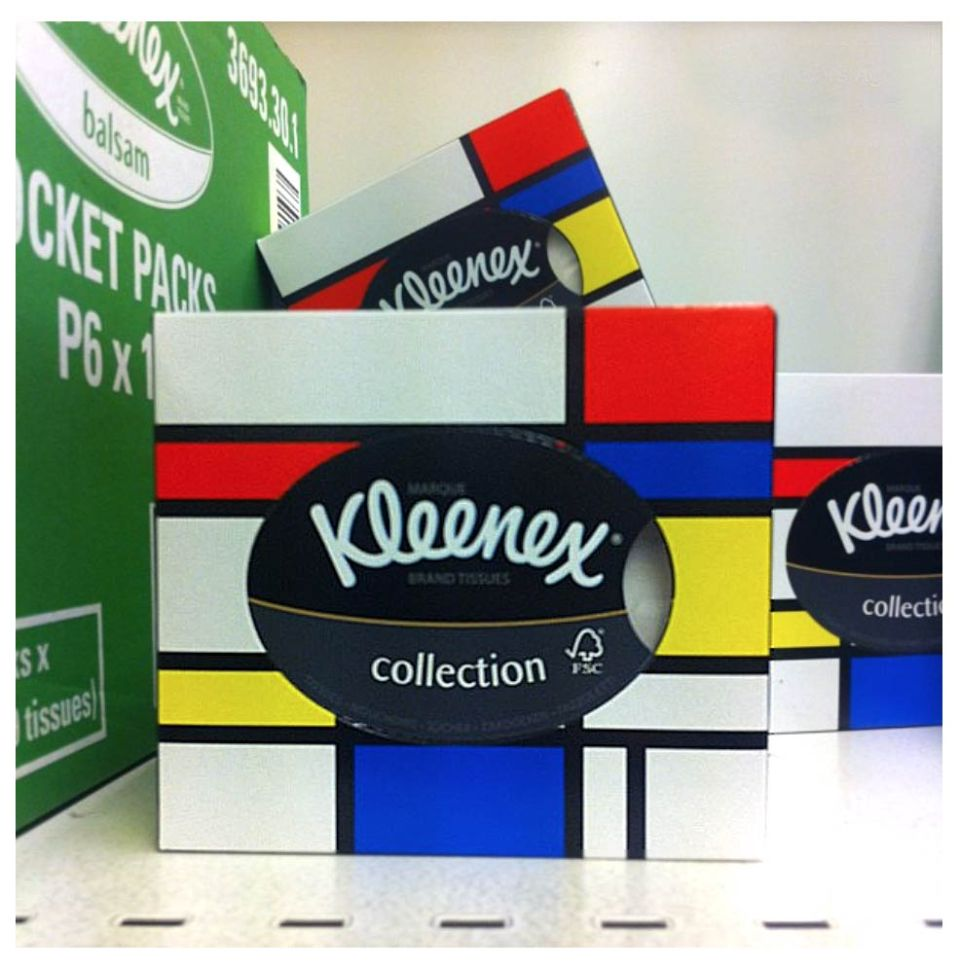 Kleenex boxes with Mondrian pattern