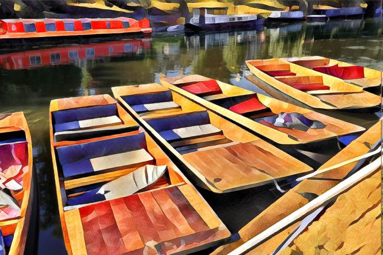 punts on the River Cam at Cambridge