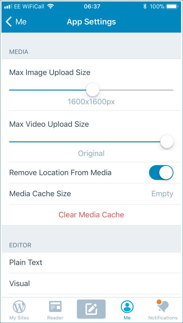 wordpress iOS settings screen