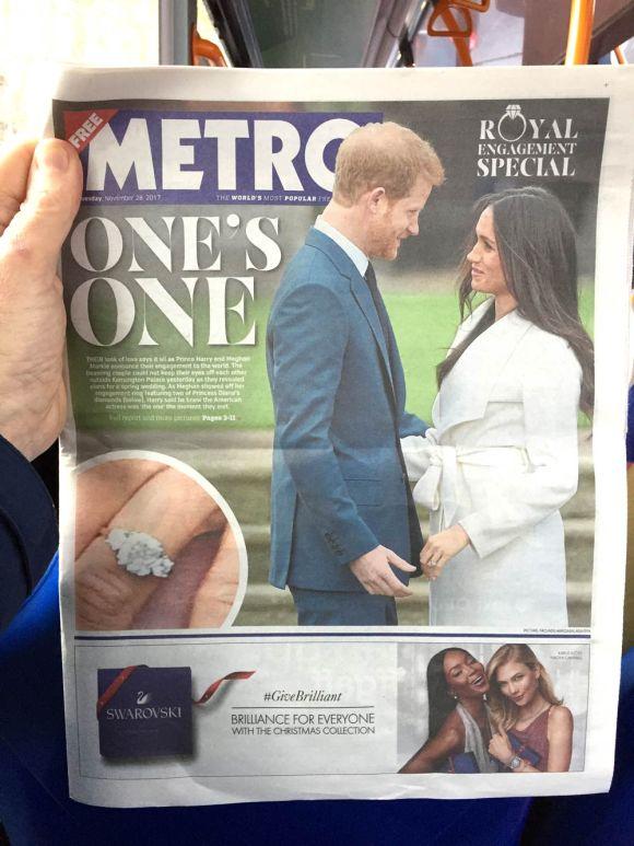 Metro newspaper headline - 'One's One' - Prince Harry and Meghan Markle