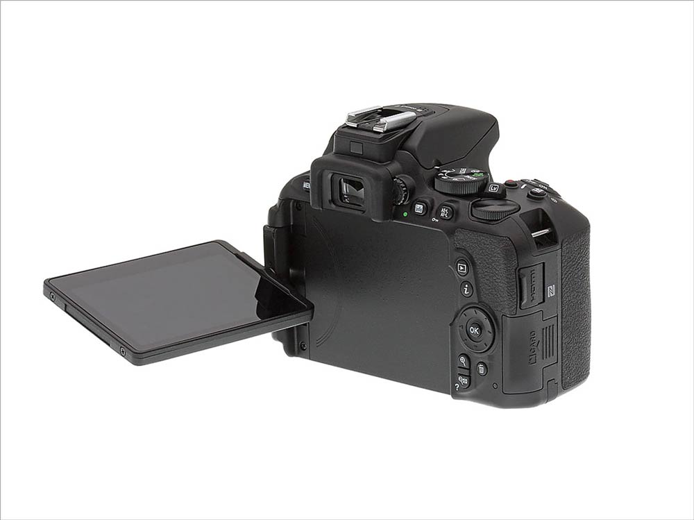 Nikon D5600 showing the articulating screen