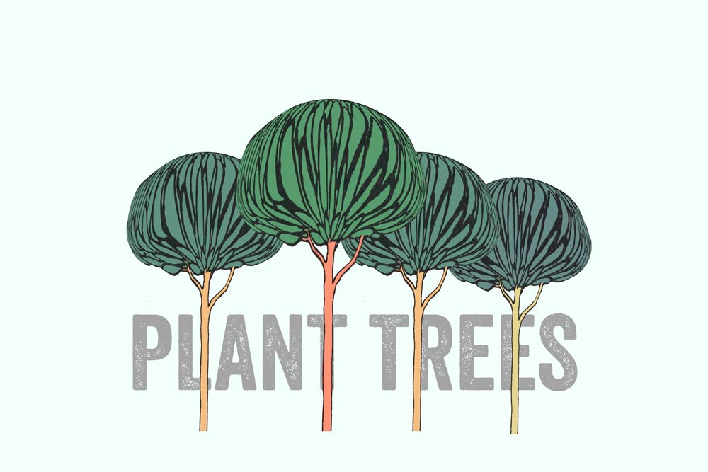 trees with text, plant trees