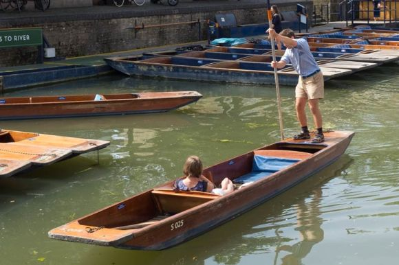 closeup of small punt on the river Cam at Cambridge