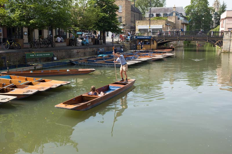 small two person punt on the river Cam at Cambridge