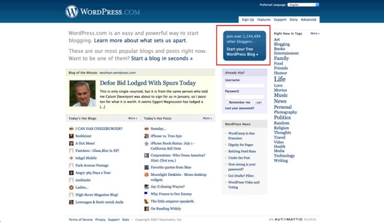 WordPress in 2007