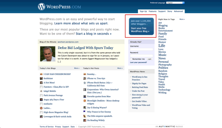 WordPress in 2007