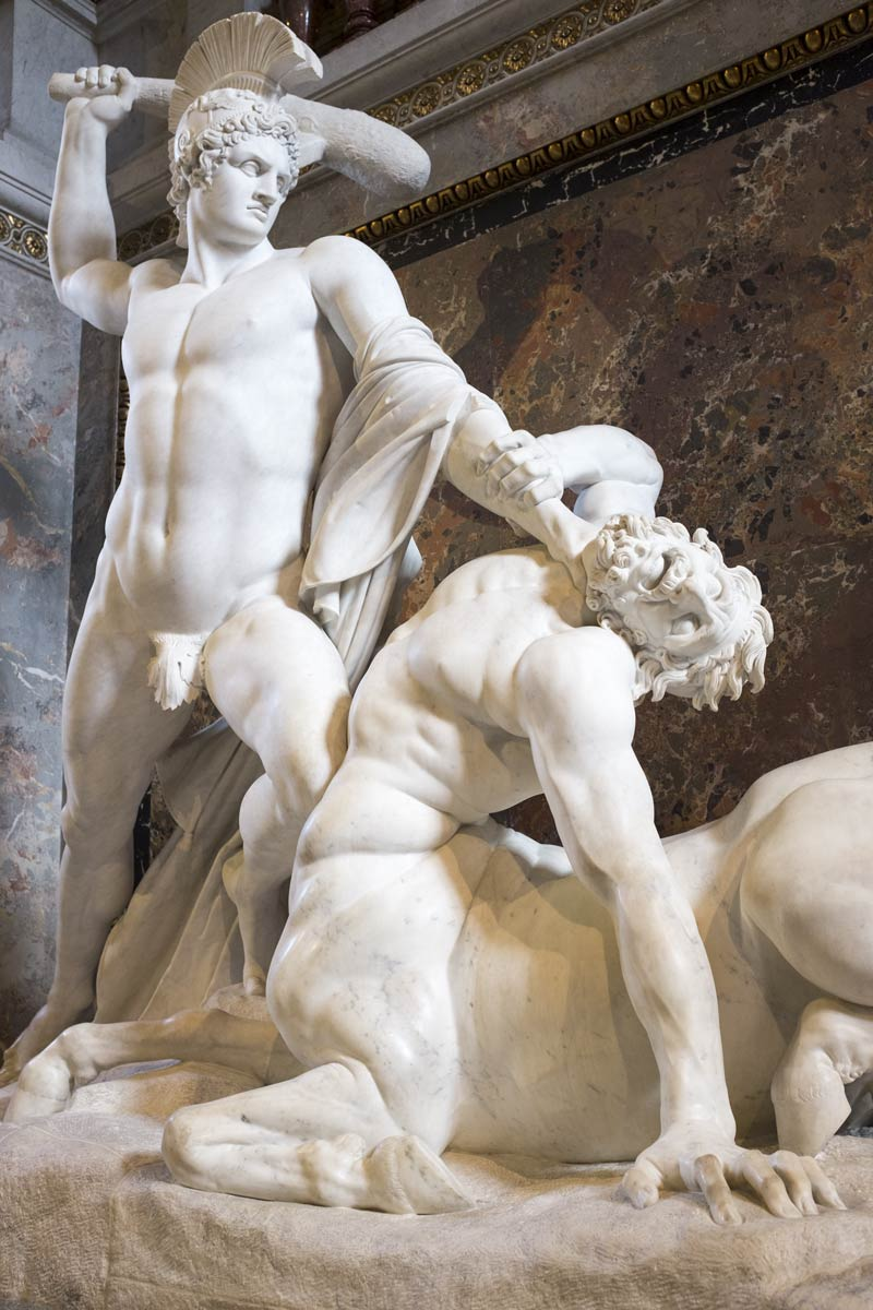 Sculpture on the stairway of the Historical Art Museum in Vienna showing the slaying of a centaur. In Greek mythology, the centaur Nessus  was killed by Heracles, and whose tainted blood in turn killed Heracles.
