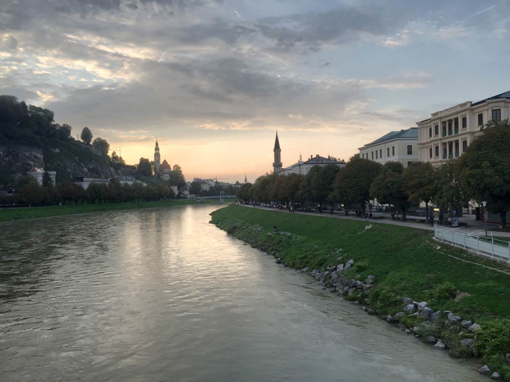 the River Salzach at Salzburg - early evening
