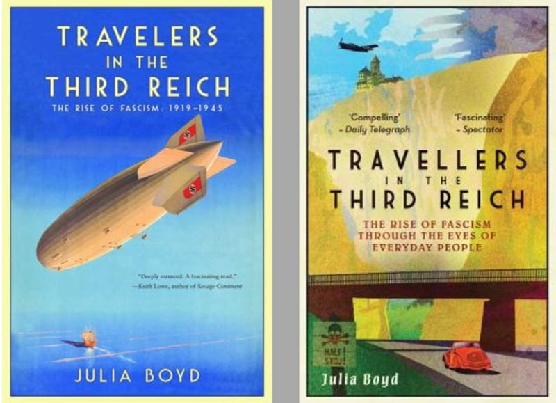 alternative covers of US and UK versions of Travelers In The Third Reich