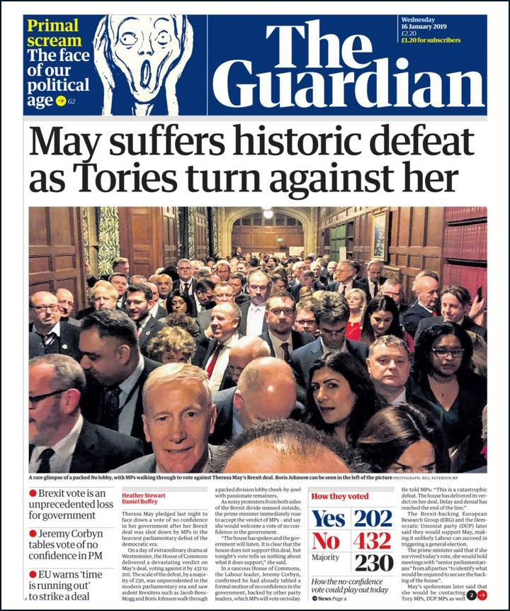 Guardian newspaper showing MPs in the voting corridor