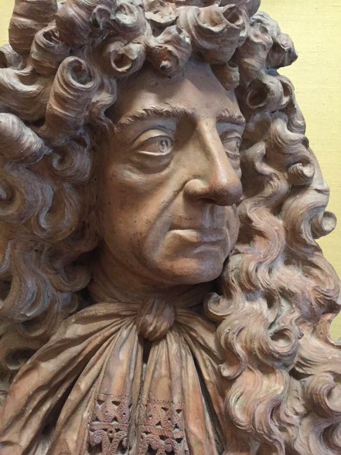 bust of Charles II looking worried