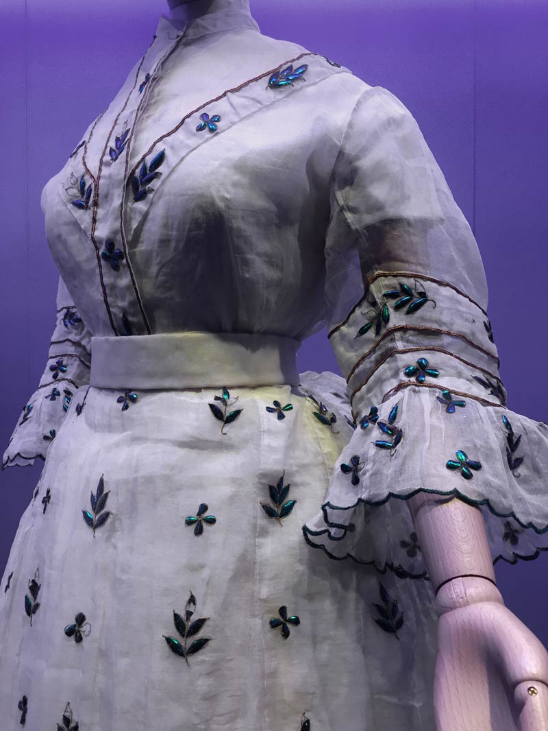 Dress from the 1800s decorated with the wing cases of the beetle Stemocera aeqisignata