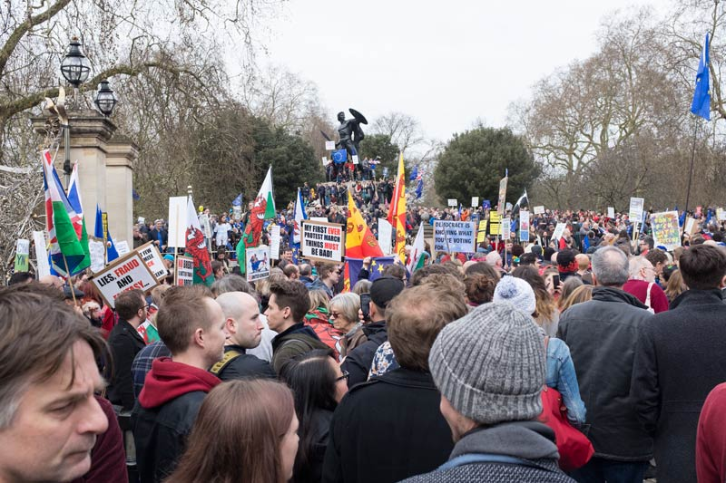 Crowd gathering in London for the Peoples Vote march on 23rd March 2019