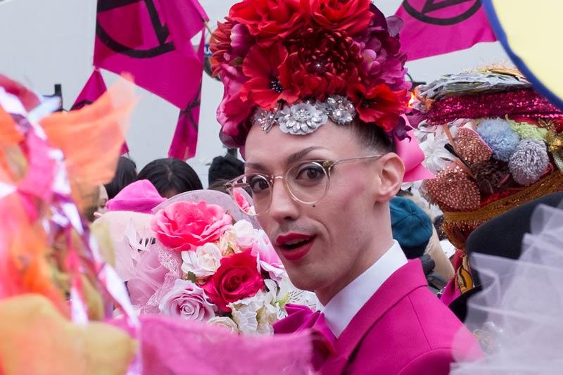 Closeup - Fashion show at Extinction Rebellion at Oxford Circus, London