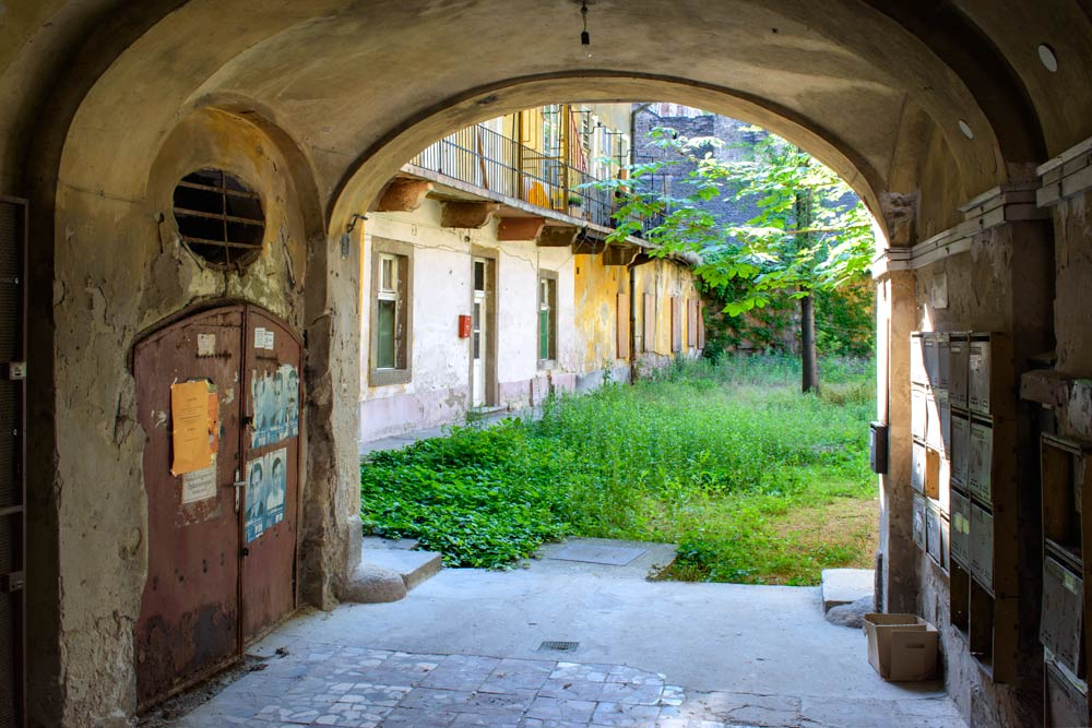 View through an archway off a street in Budapest