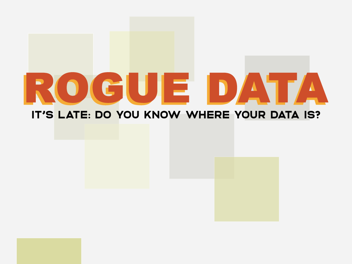 poster with blocks of colour and text 'Rogue Data' and 'It's late: do you know where your data is?'