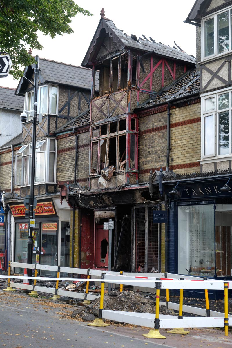 scene of a fire in an electrical shop on Mill Road in Cambridge