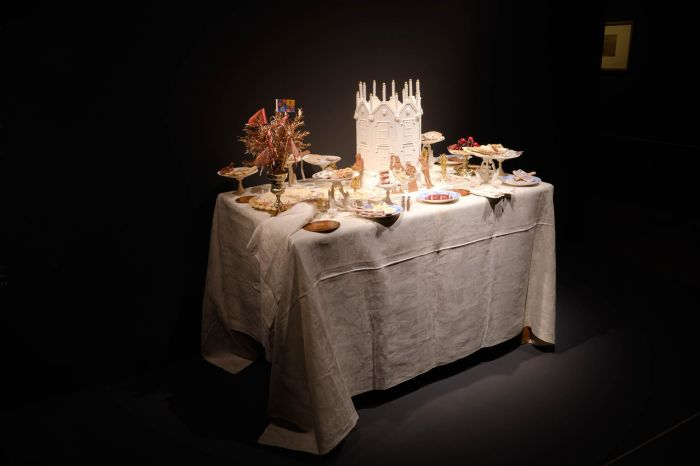 a table in the Feast & Fast exhibition on at the Fitzwilliam Museum in Cambridge. The exhibition describes itself as presenting novel approaches to understanding the history and culture of food and eating.