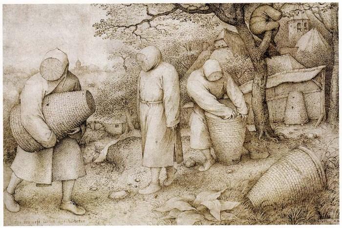 beekeepers, skeps, sketch by Breugel
